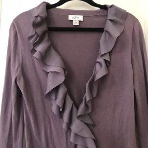 Ann Taylor LOFT Purple Ruffle Cardigan